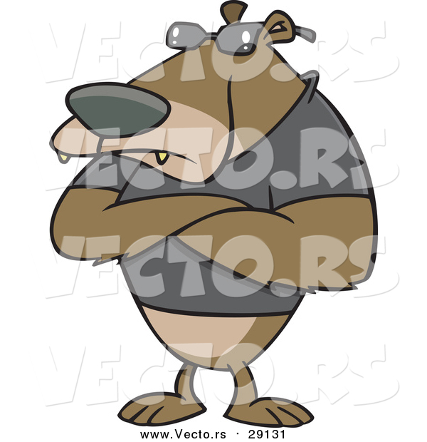 Vector of a Tough Bear Bouncer with Arms Crossed - Cartoon Version