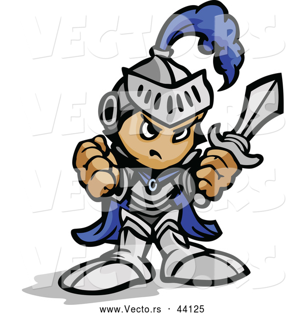 Vector of a Tough Cartoon Boy Wearing Knight Gear While Holding up His Fist and a Sword