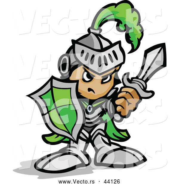 Vector of a Tough Cartoon Green Knight Armed with a Sword and Protective Shield