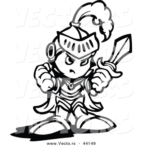 Vector of a Tough Cartoon Knight Holding up a Fist and a Sword - Coloring Page Outline