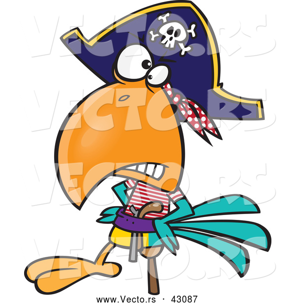 Vector of a Tough Cartoon Pirate Parrot with a Peg Leg