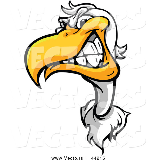 Vector of a Tough Cartoon Seagull Mascot Grinning