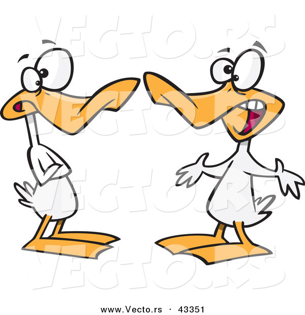 Vector of a Two Cartoon White Ducks Quacking at Each Other During a Conversation