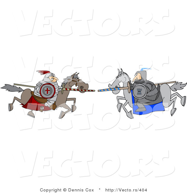 Vector of a Two Knights Jousting Each Other with Lances