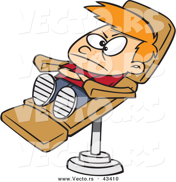 Vector of a Unhappy Cartoon Boy Laying in a Dentist Chair