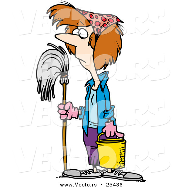 Vector of a Unhappy Cartoon Female Janitor Standing with Mop and Bucket