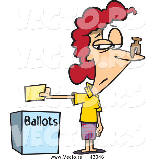 Vector of a Unhappy Cartoon Female Voter Dropping off Her Ballot - This Stinks Voting Concept