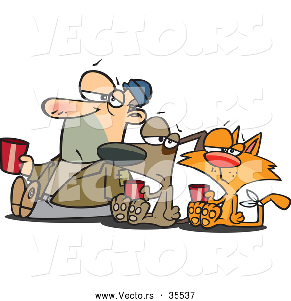 Vector of a Unhappy Cartoon Homeless Man, Dog, and Cat Begging for Money and Food