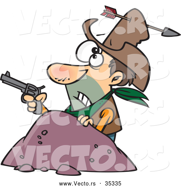 Vector of a Untrained Cartoon Cowboy Holding a Pistol While Getting Shot with in Arrow Through His Hat and Head
