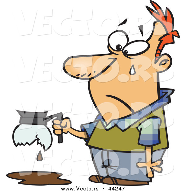 Vector of a Upset Cartoon Man Holding a Broken Coffee Pot While Crying
