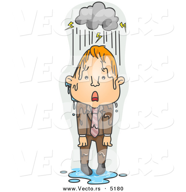 Vector of a Upset Young Cartoon Man Standing Under a Stormy Rain Cloud