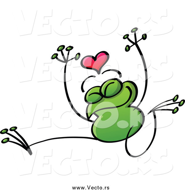 Vector of a Valentine Frog in Love, Jumping