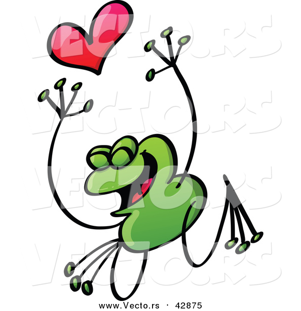 Vector of a Valentine Frog in Love, Jumping with a Heart