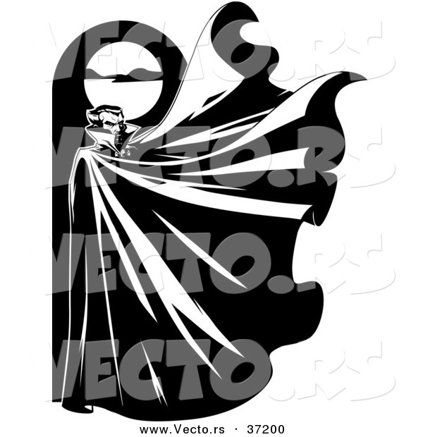 Vector of a Vampire Below a Full Moon with His Cape Flapping Widely in the Wind - Black and White Halloween Line Art