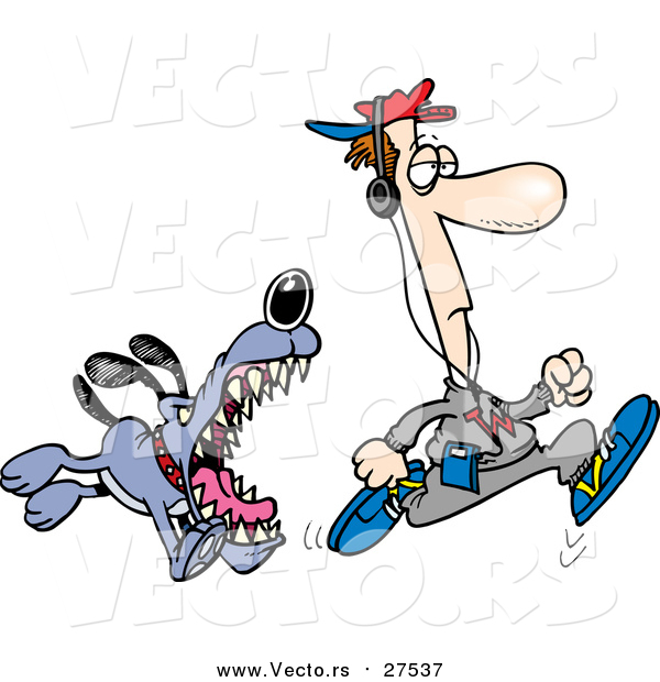 Vector of a Vicious Dog About to Bite an Unaware Man Jogging - Cartoon Style