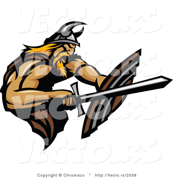 Vector of a Viking Fighting with Sword and Using a Shield