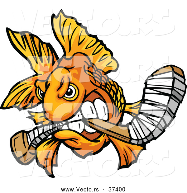 Vector of a Viscous Cartoon Goldfish Biting a Hockey Stick While Looking Fierce
