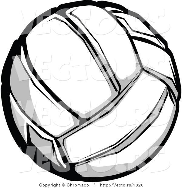Vector of a Volleyball Grayscale Version