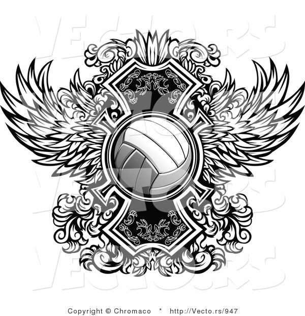 Vector of a Volleyball over Ornate Winged Design