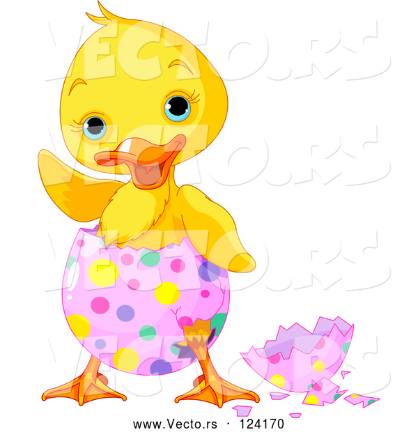 Vector of a Waving Cartoon Chick Hatching from a Pink Easter Egg with Colorful Dots