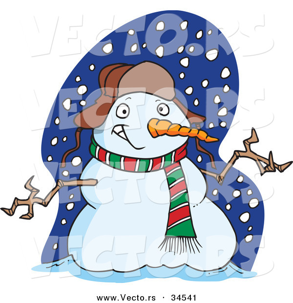 Vector of a Welcoming Cartoon Snowman