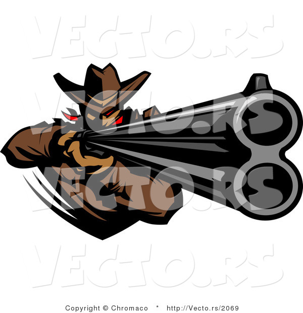 Vector of a Western Cowboy Mascot Pointing a Loaded Double Barrel Rifle