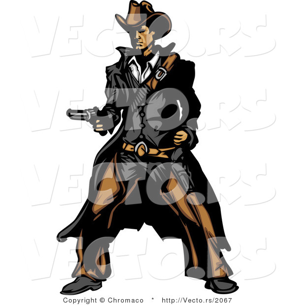 Vector of a Western Gunslinger Outlaw Pointing a Loaded Gun