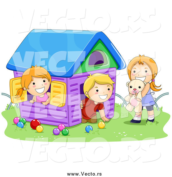 Vector of a White Boy and Two Girls Playing in a Toy House