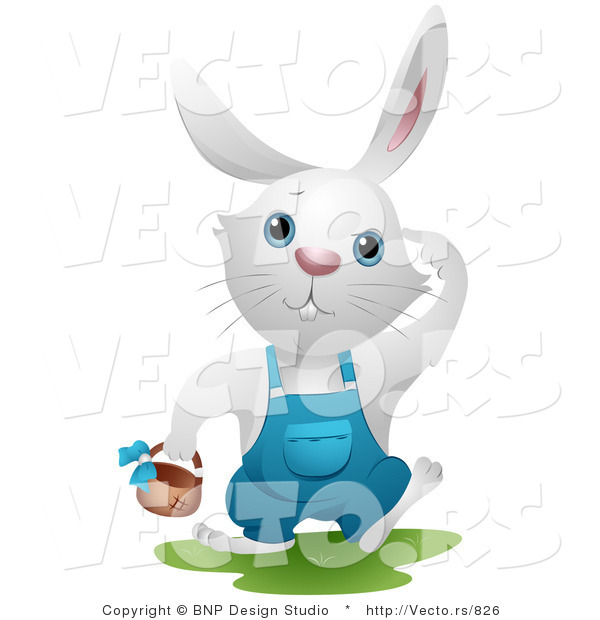 Vector of a White Bunny Rabbit Searching for Easter Eggs