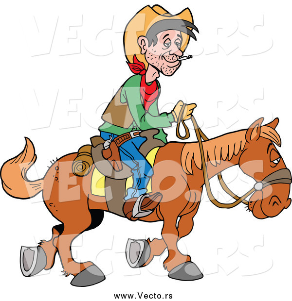 Vector of a White Cowboy Traveling by Horseback