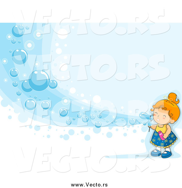 Vector of a White Girl Blowing a Wave of Bubbles on Blue