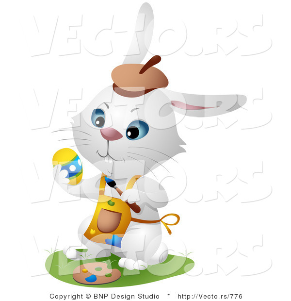 Vector of a White Hare Painting Easter Eggs