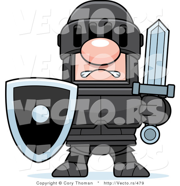 Vector of a White Knight in Black Armor Holding Shield and Sword