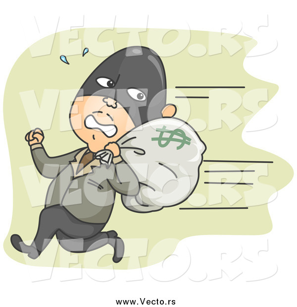 Vector of a White Male Robber Running Away with a Money Bag