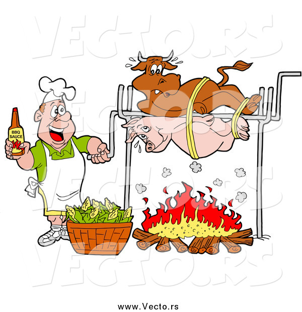 Vector of a White Man Holding a Bottle of Bbq Sauce and Cooking a Cow and Pig over a Fire