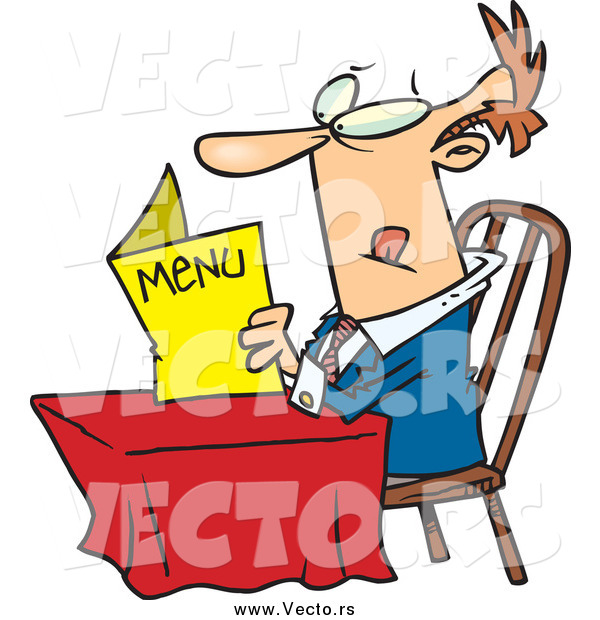 Vector of a White Man Sitting at a Table and Reading a Menu at a Restaurant