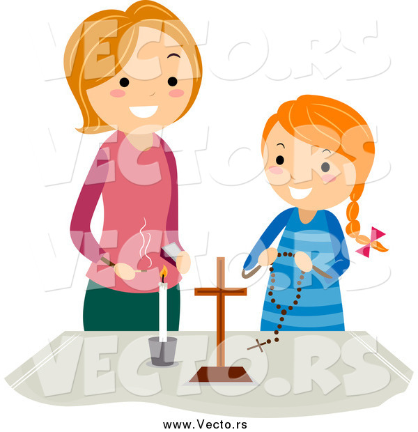 Vector of a White Mother and Girl at a Christian Altar