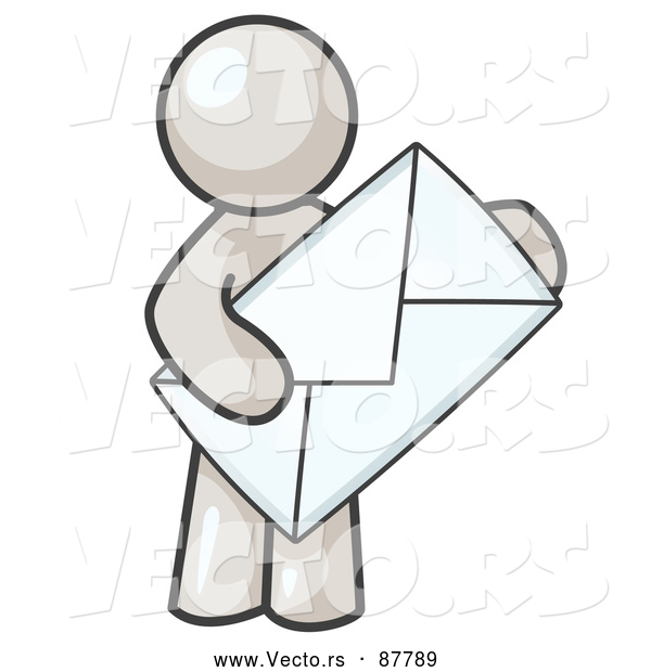 Vector of a White Person Holding a Large Envelope, Symbolizing Communications and Email