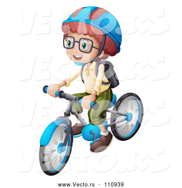 Vector of a White School Kid Wearing a Helmet and Riding a Bicycle
