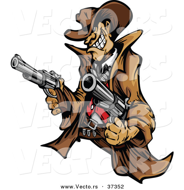 Vector of a Wild West Cartoon Cowboy Mascot Pointing Two Handguns While Grinning