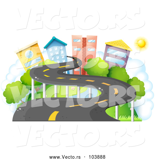 Vector of a Winding Road to a Small City Town
