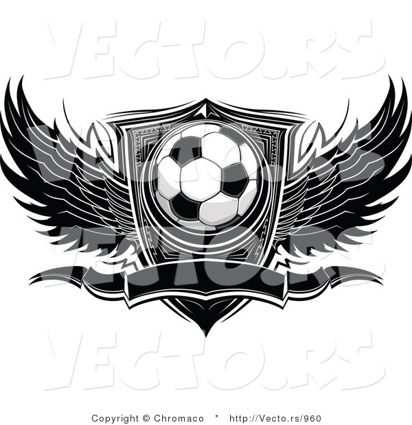 Vector of a Winged Soccer Ball with Blank Banner and Shield - Black and White Version