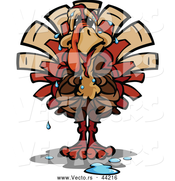 Vector of a Worried Cartoon Turkey Sweating