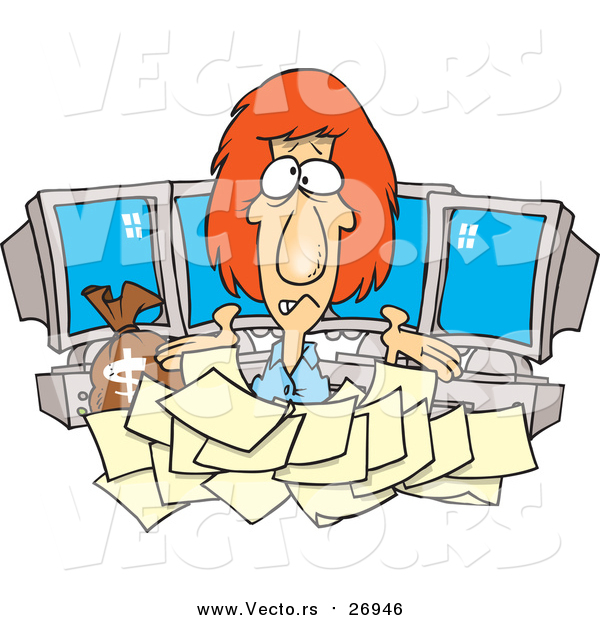 Vector of a Worried Computer Businesswoman with Tax Documents and Money Issues - Cartoon Style