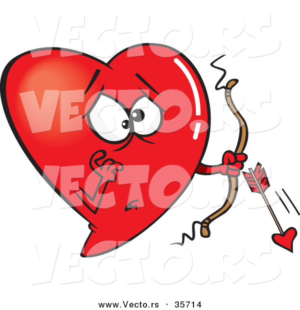 : Vector of a Worried Red Love Heart Cupid with a Broken Arrow