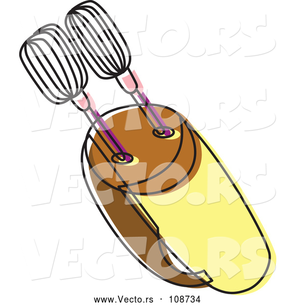 Vector of a Yellow Brown Food Mixer