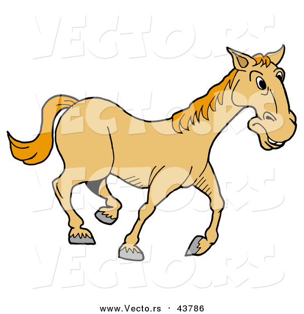 Vector of a Yellow Horse Trotting