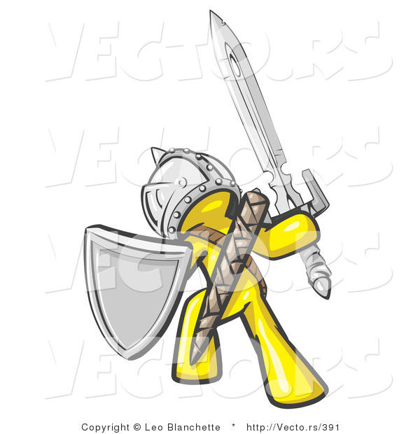 Vector of a Yellow Knight with Shield and Sword Standing in Battle Mode