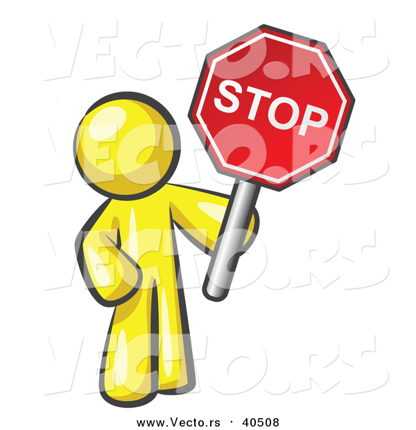 Vector of a Yellow Man Holding a Red Stop Sign