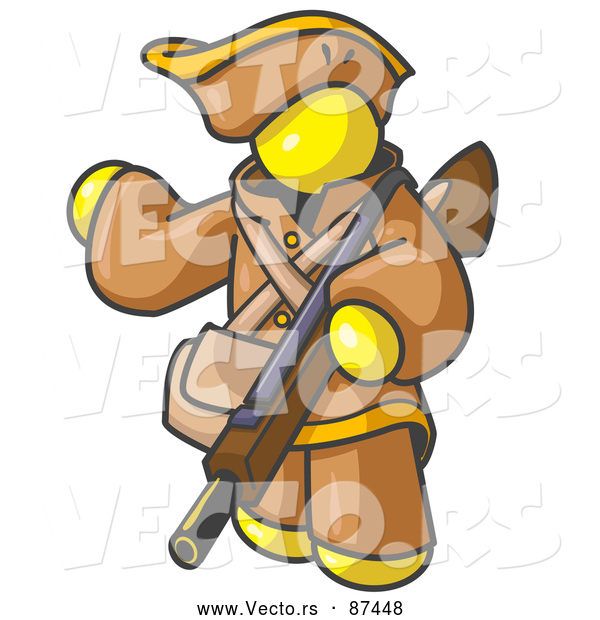 Vector of a Yellow Person in Hunter Gear, Carrying a Rifle